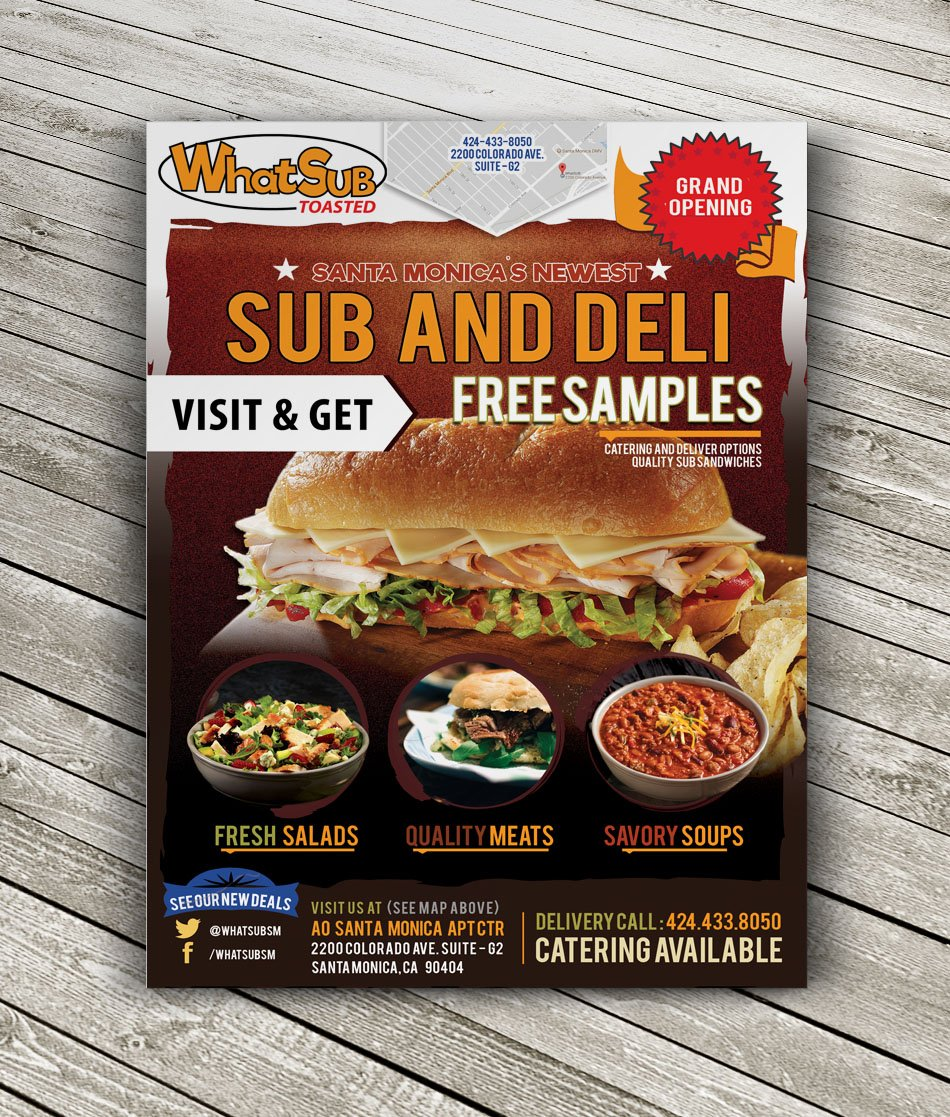 WhatSub Custom Restaurant Flyer Design